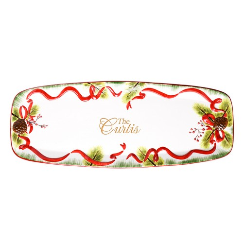 Season Greetings Family Personalized 14 Inch Holiday Ceramic Serving Tray