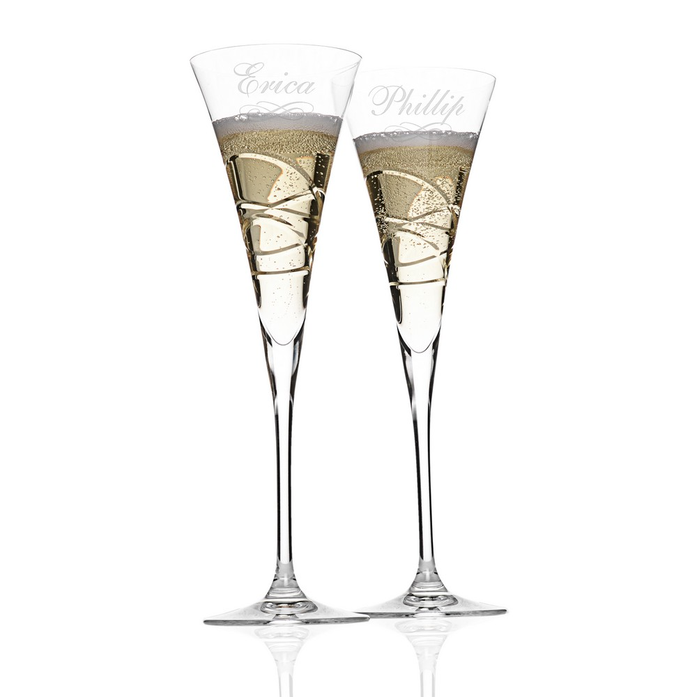 silhouette personalized lenox crystal champagne toasting. Black Bedroom Furniture Sets. Home Design Ideas