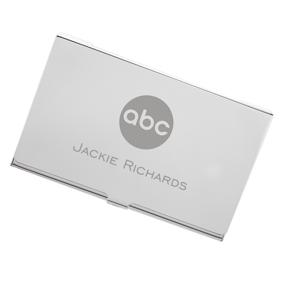 Silver business card case with logo colourmoves