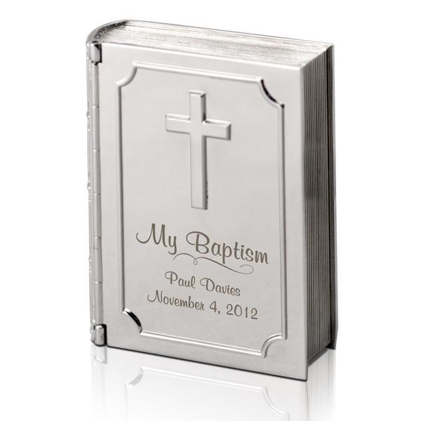 Silver Personalized Baptism Bible Keepsake Box