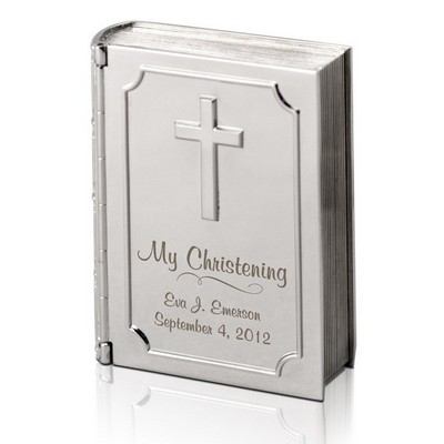 Silver Personalized Christening Bible Keepsake Box