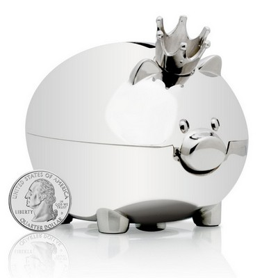 Silver Personalized Royal Piggy Bank