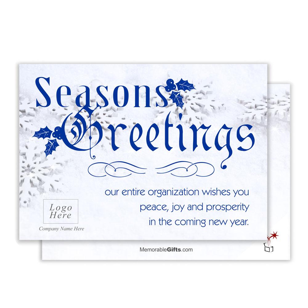 Snowflake Seasons Greeting Corporate Holiday Card