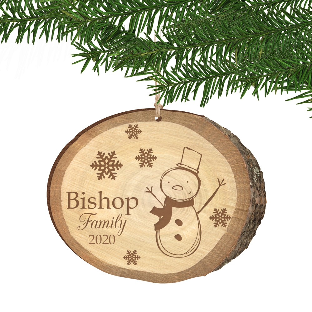 Personalized Christmas Ornament.Snowman Family Birch Wood Print Personalized Christmas Ornament