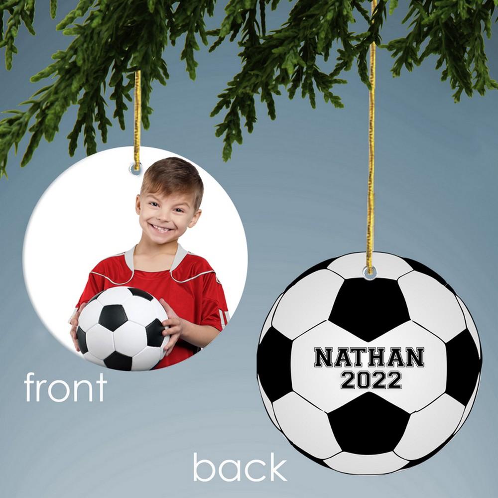 Soccer Design Personalized Ceramic Christmas Ornament