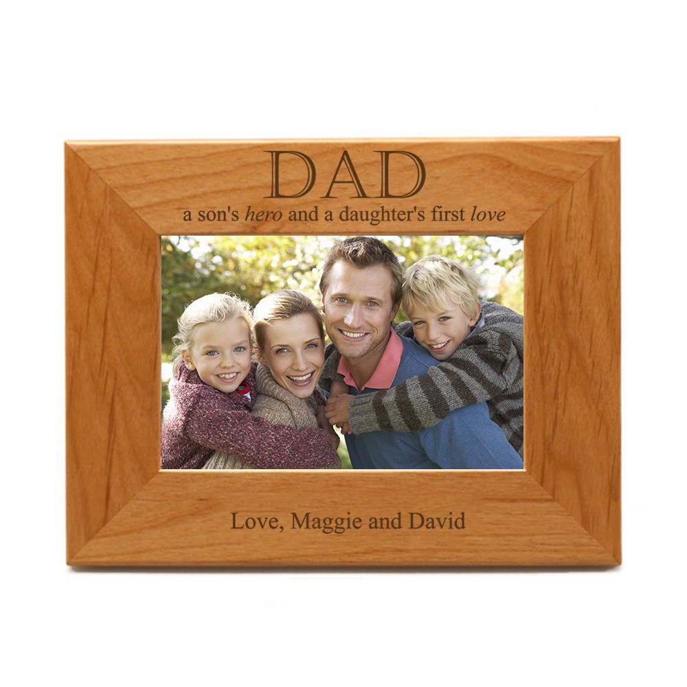 Son\'s Hero, Daughter\'s Love for Dad Wooden 4x 6 Photo Frame