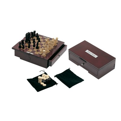 Personalized Rosewood Chess and Checkers Set