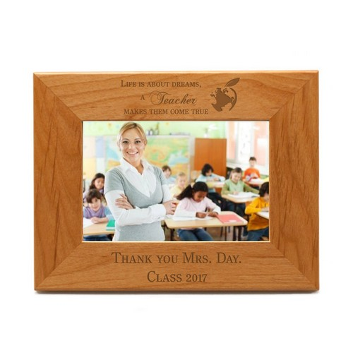 Teachers Make Dreams Come True Personalized 4x6 Wood Frame