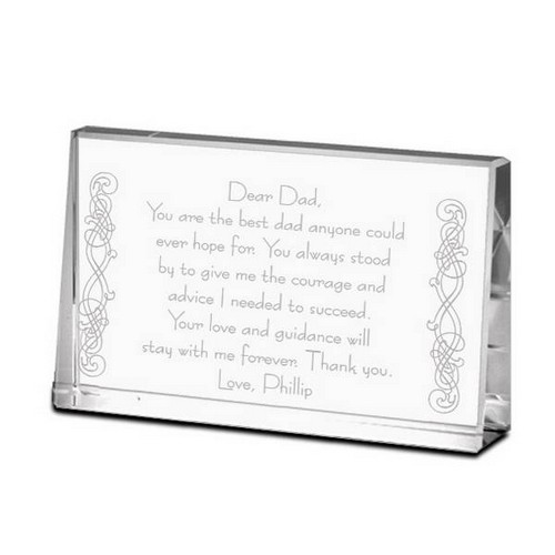 Thank You Dad Personalized Crystal Keepsake Plaque