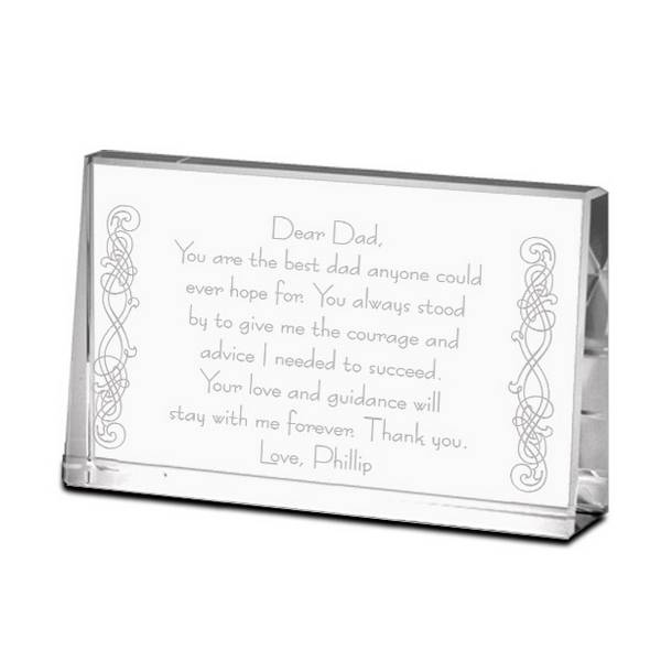 Personalized Gifts and Engraved Gift Ideas for all Occasions!  sc 1 st  Memorable Gifts & Thank You Dad Personalized Crystal Keepsake Plaque | Engraved ...