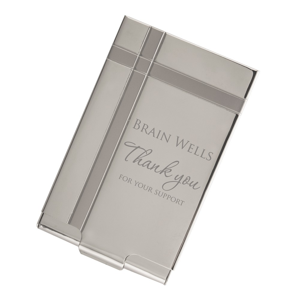 Thank you personalized silver business card case for Unique business card cases