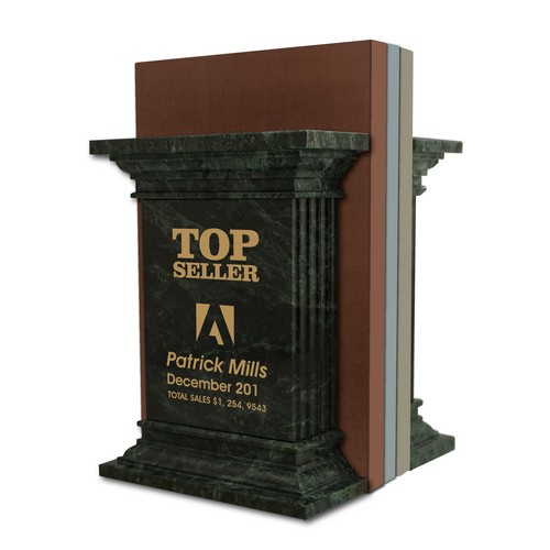 Top Seller Achievement Personalized Green Marble Column Bookends