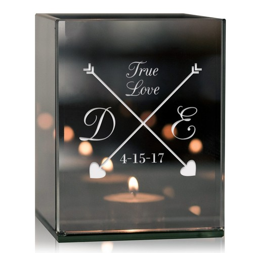 True Love Arrows Personalized Tea Light Candle Holder