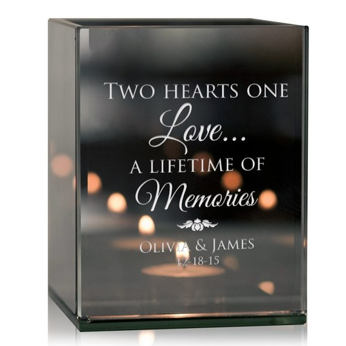 Two Hearts One love Personalized Tealight Candle Holder