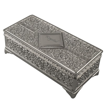 Victorian  Diamond Personalized Silver Jewelry Box