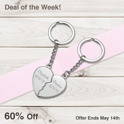 Two Souls One Heart Personalized Couples Key Chain