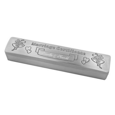 Pewter Personalized Marriage Certificate Holder