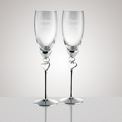 Glass Flutes with Double Heart