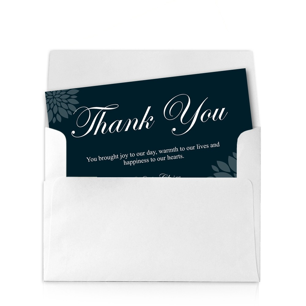 Blue Floral X Wedding Thank You Cards - 4x6 thank you card template