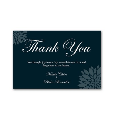 Blue Floral 4X6 Wedding Thank You Cards
