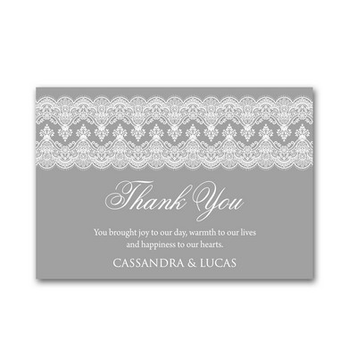 Grey Elegant Lace 4x6 Wedding Thank You Cards