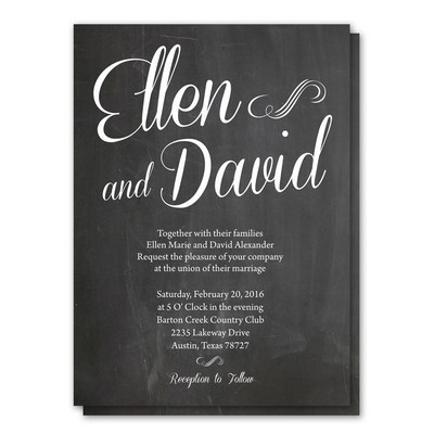 Simply Script 5x7 Wedding Invitation and RSVP Card