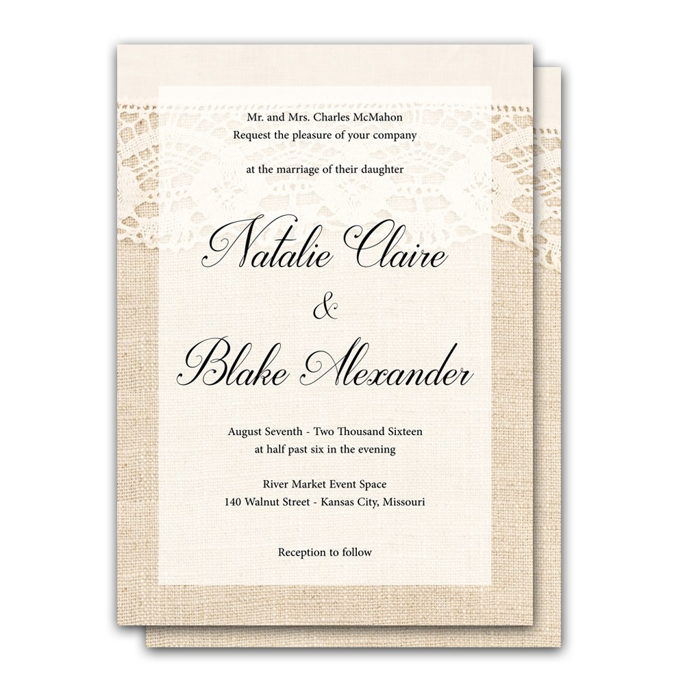 Wedding Invitation Postcard: Elegant Lace And Burlap 5x7 Wedding Invitation And RSVP Card