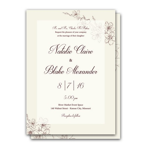 Lovely Floral 5x7 Wedding Invitation and RSVP Card