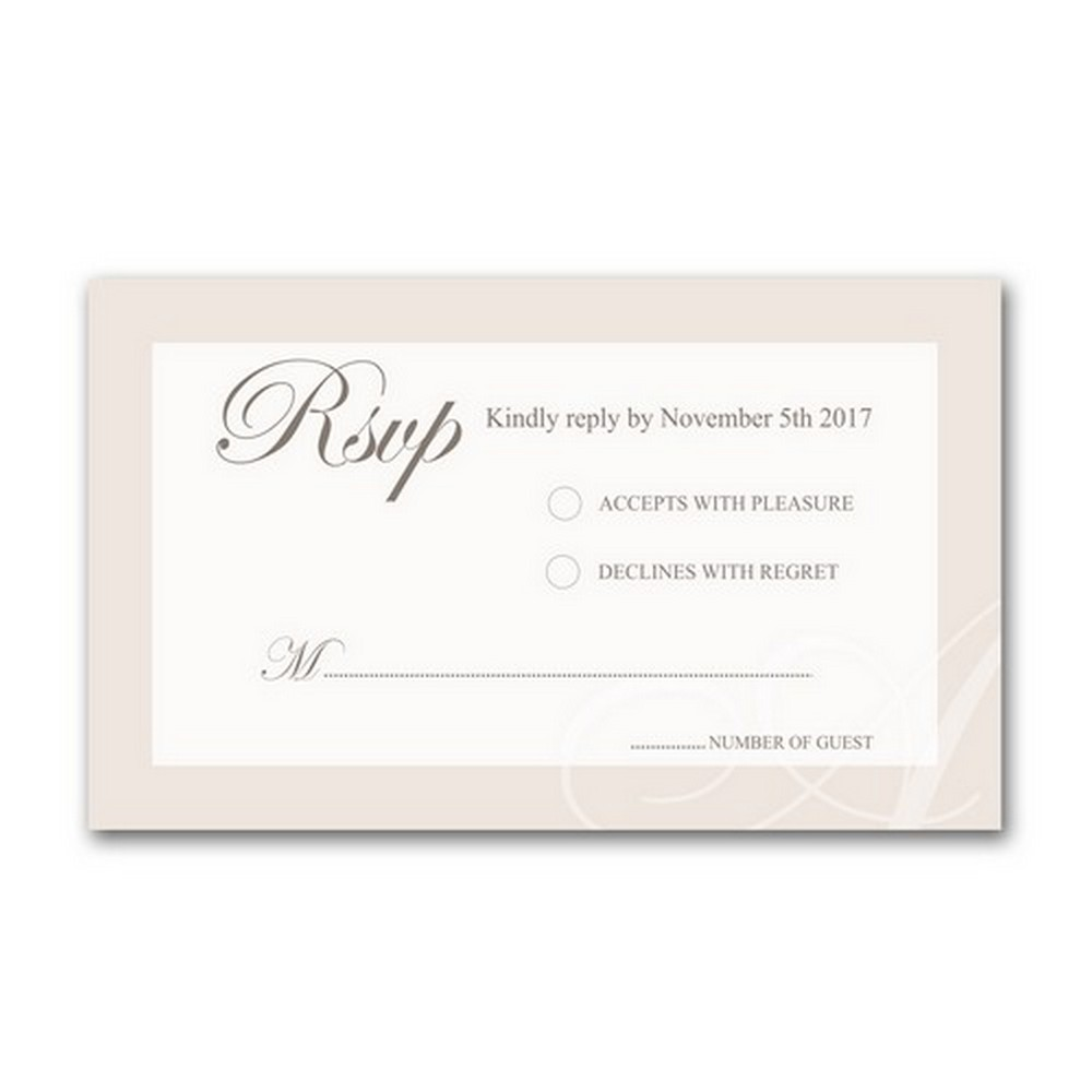 Classic Initial 5x7 Wedding Invitation and RSVP Card
