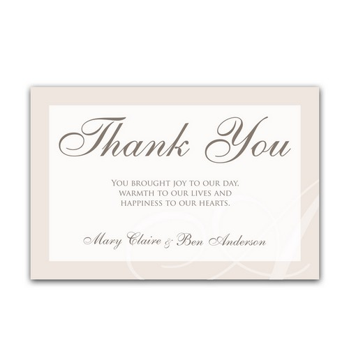 Classic Initial 4x6 Wedding Thank You Cards