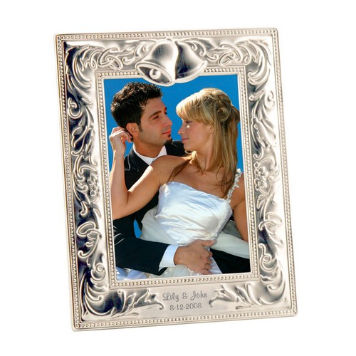 silver wedding bells 5 7 photo frame personalized gifts