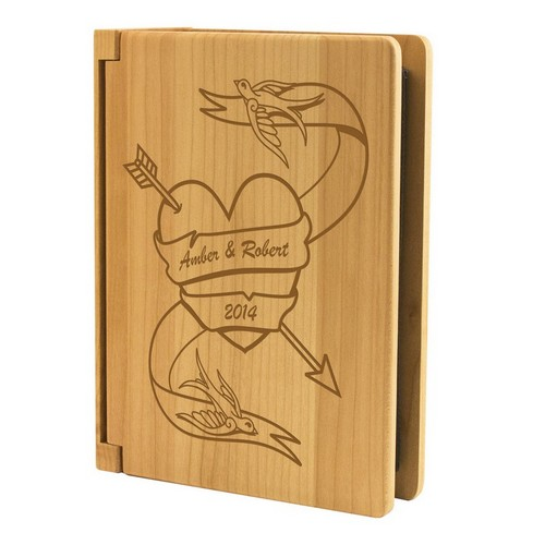 Love Birds Wood Photo Album