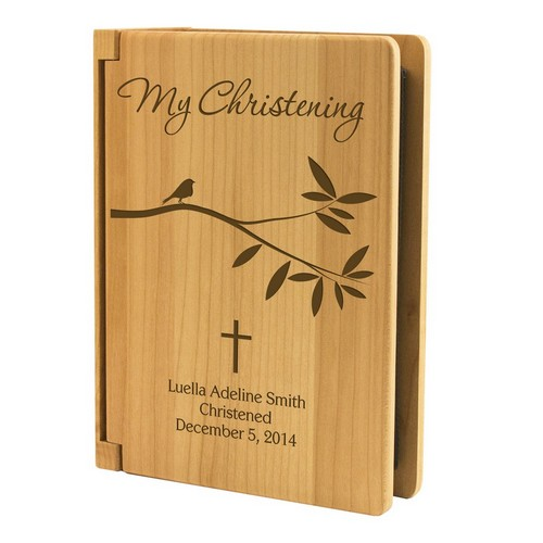 Blessed Little Wings Christening 4x6 Personalized Wooden Photo Album