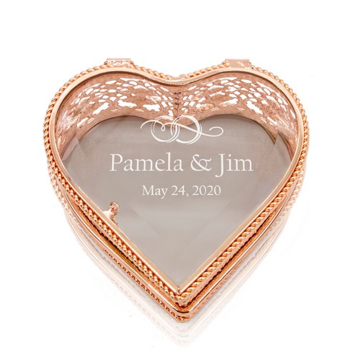 Gorgeous Wedding Anniversary Personalized Rose Gold Heart Jewelry Box