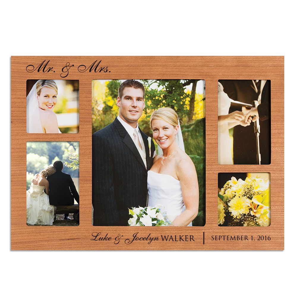 Wedding Collage Personalized Cherry Wood Picture Frame