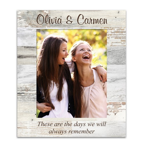 White Faux Wood Pattern Personalized 8x10 Picture Frame