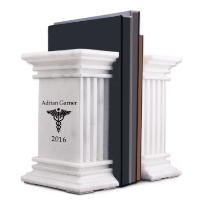 White Marble Personalized Bookends with Caduceus