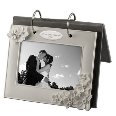 White Orchid Personalized Flip Photo Album
