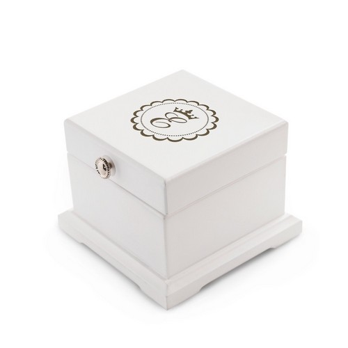 White Wood Monogrammed Keepsake Jewelry box for Kids