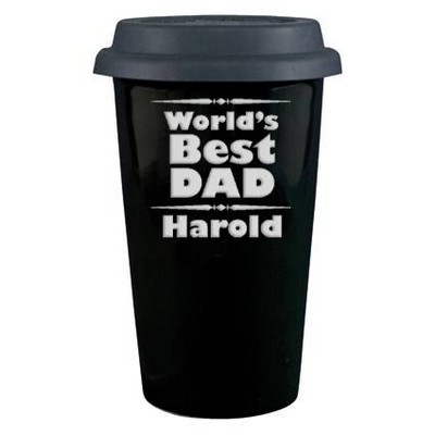 Worlds Best Dad Porcelain Coffee Cup with Lid