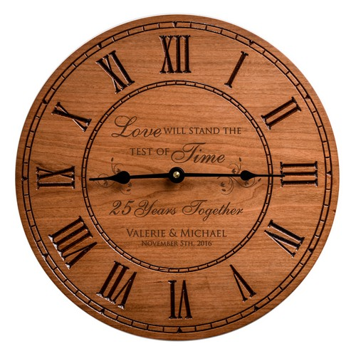 Wedding Anniversay Solid Cherry Wood Engraved Wall Clock