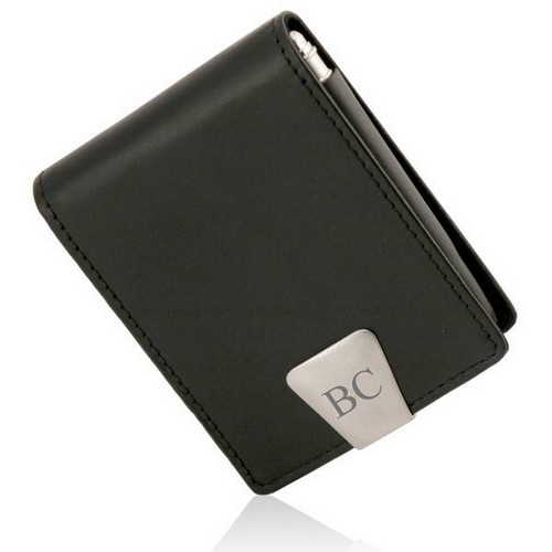 Personalized Executive Black Leather Business Card Case with Pen