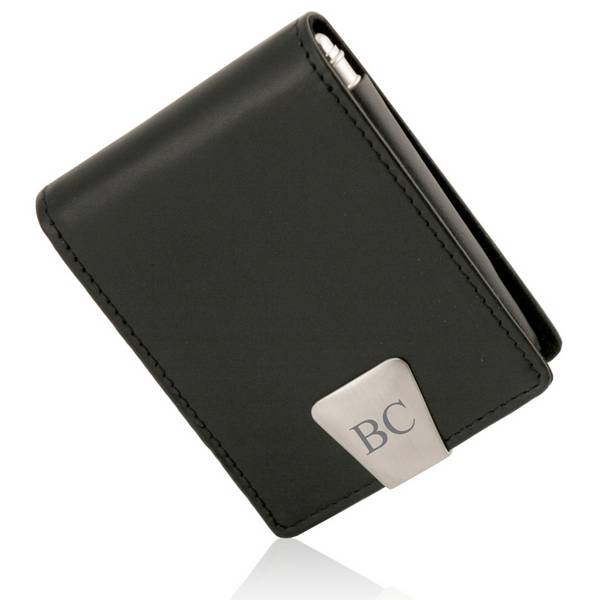 personalized executive black leather business card case with pen - Metal Business Card Case