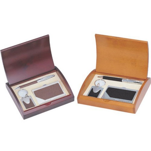 Personalized Black or Brown Leather Pen Business Card Case and Keychain Gift Set