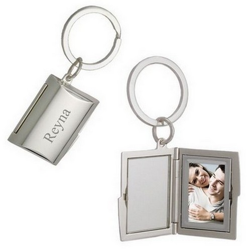 Silver Cylinder  Key Chain with Photo Frame and Mirror