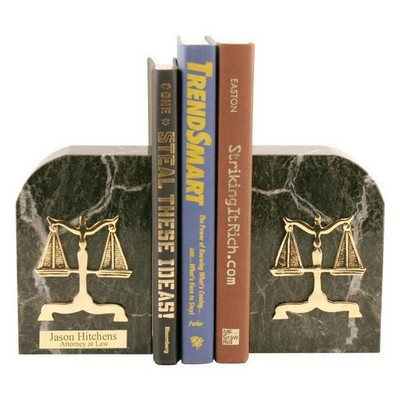 Gold Plated Green Marble Legal Scales Bookends