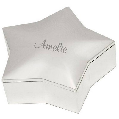 Personalized Silver Star Shaped Keepsake Box