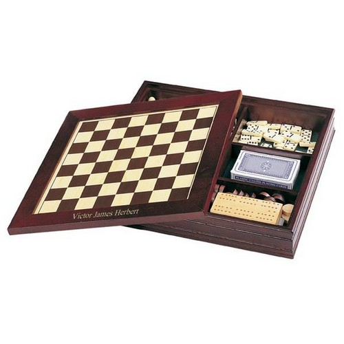 Personalized 7-in-1 Classic Wooden Game Set Chess Backgammon and More